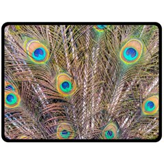 Pen Peacock Wheel Plumage Colorful Double Sided Fleece Blanket (large)