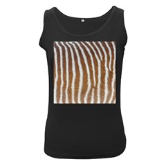 Skin Zebra Striped White Brown Women s Black Tank Top