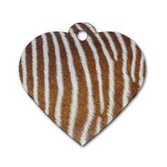 Skin Zebra Striped White Brown Dog Tag Heart (two Sides)