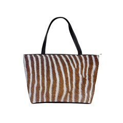 Skin Zebra Striped White Brown Classic Shoulder Handbag