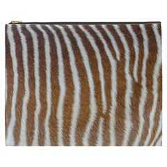 Skin Zebra Striped White Brown Cosmetic Bag (xxxl)