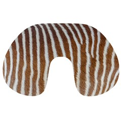 Skin Zebra Striped White Brown Travel Neck Pillows