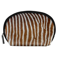 Skin Zebra Striped White Brown Accessory Pouch (large)