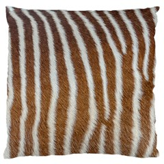 Skin Zebra Striped White Brown Large Flano Cushion Case (two Sides)