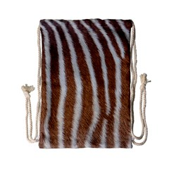 Skin Zebra Striped White Brown Drawstring Bag (small)