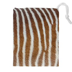 Skin Zebra Striped White Brown Drawstring Pouch (xxl)