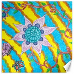 Tie-dye Flower And Butterflies Canvas 12  X 12  by okhismakingart