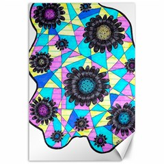 Neon Geometric Flowers  Canvas 24  X 36