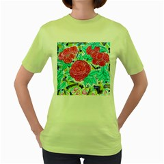 Roses And Movie Theater Carpet Women s Green T-shirt by okhismakingart
