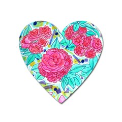 Roses And Movie Theater Carpet Heart Magnet by okhismakingart