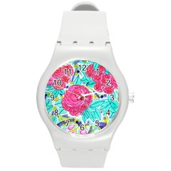 Roses And Movie Theater Carpet Round Plastic Sport Watch (m) by okhismakingart