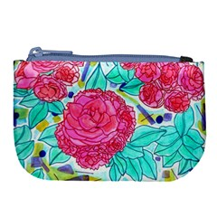 Roses And Movie Theater Carpet Large Coin Purse by okhismakingart