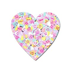 Candy Hearts (sweet Hearts Inspired) Heart Magnet by okhismakingart