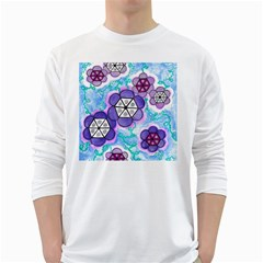 Hexagonal Flowers Long Sleeve T Shirt