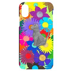 Floral Cat Apple Iphone X/xs Black Uv Print Case
