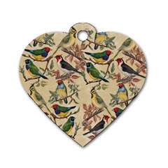 Vintage Birds Dog Tag Heart (two Sides)