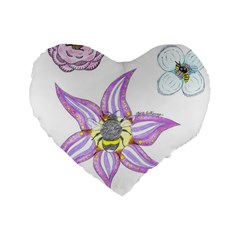 Flower And Insects Standard 16  Premium Flano Heart Shape Cushions by okhismakingart