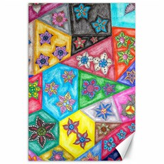 Stained Glass Flowers  Canvas 20  X 30  by okhismakingart