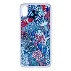 Floral Jungle Blue Iphone Xs Max Seamless Case (white) by okhismakingart