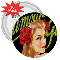 Blonde Bombshell Retro Glamour Girl Posters 3  Buttons (10 Pack)  by StarvingArtisan