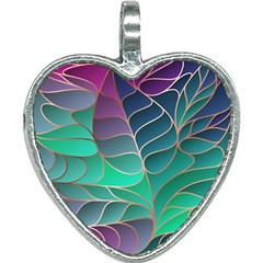 Modern Colorful Abstract Art Heart Necklace by tarastyle