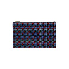Roses Blue Plaid Cosmetic Bag (small)