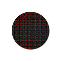 Roses Black Plaid Rubber Round Coaster (4 Pack)