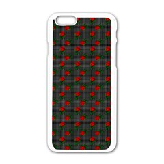 Roses Black Plaid Iphone 6/6s White Enamel Case by snowwhitegirl