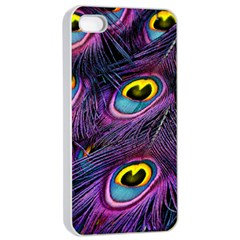 Peacock Feathers Purple Iphone 4/4s Seamless Case (white) by snowwhitegirl