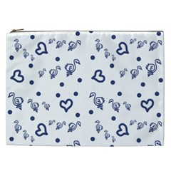 Duck Family Blue Pattern Cosmetic Bag (xxl)
