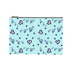 Duck Family Blue Pink Hearts Pattern Cosmetic Bag (large)