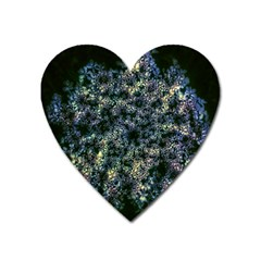 Queen Annes Lace In Blue And Yellow Heart Magnet by okhismakingart