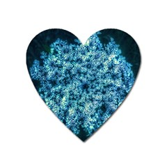 Queen Annes Lace In Neon Blue Heart Magnet by okhismakingart