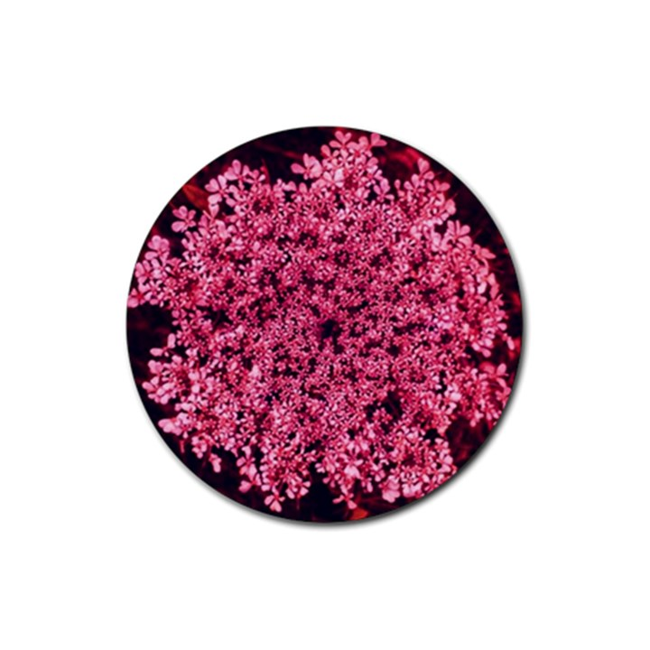 Queen Annes Lace in Red Part II Rubber Round Coaster (4 pack)