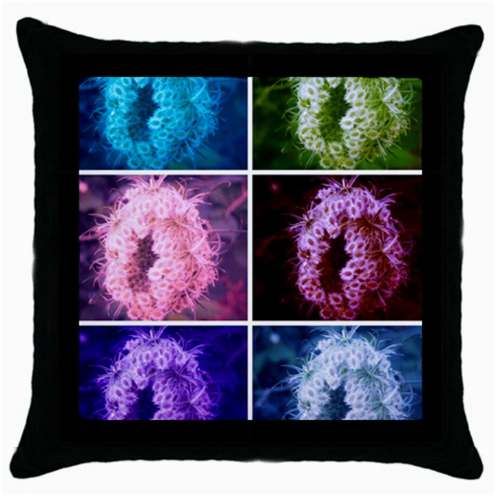 Closing Queen Annes Lace Collage (Vertical) Throw Pillow Case (Black)