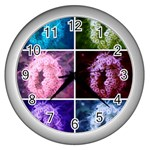 Closing Queen Annes Lace Collage (Vertical) Wall Clock (Silver) Front