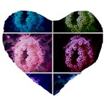Closing Queen Annes Lace Collage (Vertical) Large 19  Premium Flano Heart Shape Cushions Front