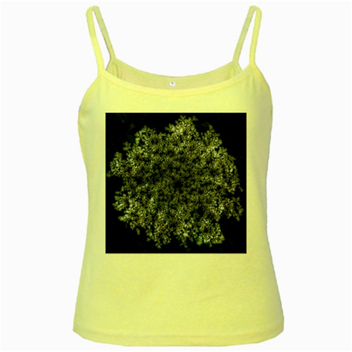 Queen Annes Lace in White Yellow Spaghetti Tank