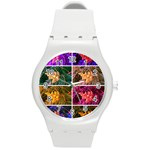 Sideways Sumac Collage Round Plastic Sport Watch (M) Front