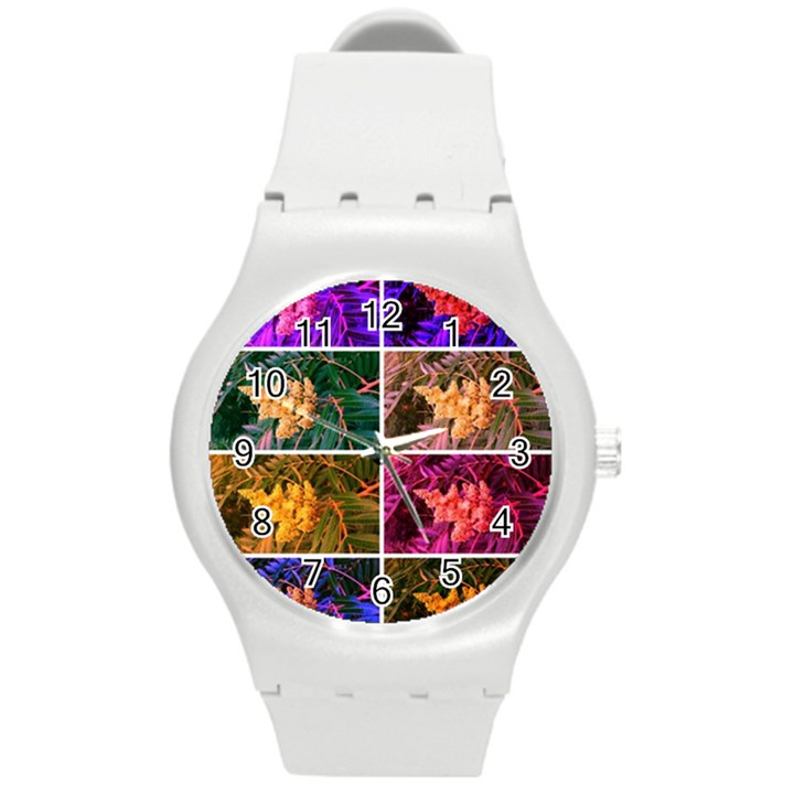 Sideways Sumac Collage Round Plastic Sport Watch (M)