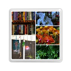 Floral Collage Memory Card Reader (square) by okhismakingart