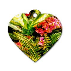 Fern Jungle Dog Tag Heart (two Sides)