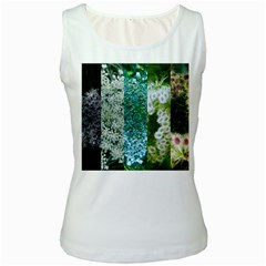 Queen Annes Lace Vertical Slice Collage Women s White Tank Top by okhismakingart