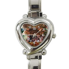 Queen Annes Lace Horizontal Slice Collage Heart Italian Charm Watch by okhismakingart
