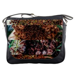 Queen Annes Lace Horizontal Slice Collage Messenger Bag by okhismakingart