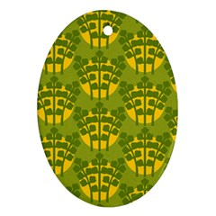 Texture Plant Herbs Green Ornament (oval)