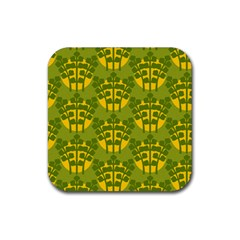 Texture Plant Herbs Green Rubber Coaster (square)  by Mariart