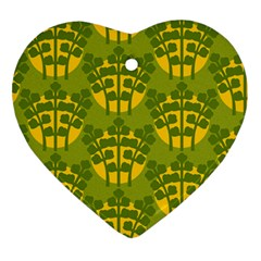 Texture Plant Herbs Green Heart Ornament (two Sides)