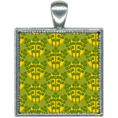 Texture Plant Herbs Green Square Necklace