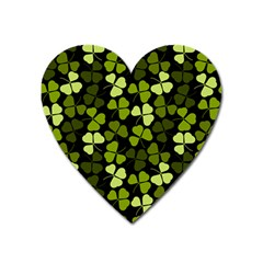 Green Leaves Meadow Shamrock Pattern Heart Magnet by AnjaniArt